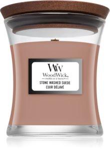 Woodwick Stone Washed Suede ароматна свещ  с дървен фитил