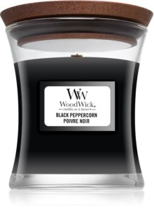 Woodwick Black Peppercorn candela profumata con stoppino in legno