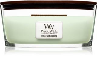 Woodwick Sweet Lime Gelato ароматна свещ  с дървен фитил (hearthwick)