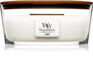 Woodwick Linen aроматична свічка з дерев'яним гнітом (hearthwick)