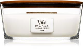 Woodwick Linen dišeča sveča  z lesenim stenjem (hearthwick)