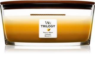 Woodwick Trilogy Café Sweets scented candle wooden wick (hearthwick) 453,6 g