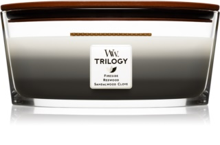 Woodwick Trilogy Warm Woods scented candle wooden wick (hearthwick) 453,6 g