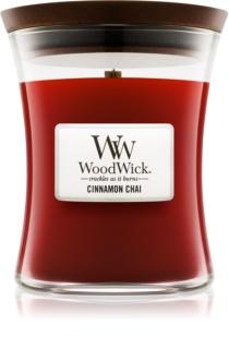 Woodwick Cinnamon Chai ароматна свещ  с дървен фитил
