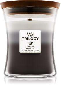 Woodwick Trilogy Warm Woods dišeča sveča  z lesenim stenjem