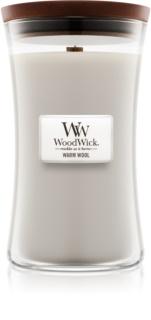 Woodwick Warm Wool candela profumata con stoppino in legno