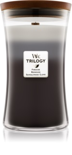 Woodwick Trilogy Warm Woods candela profumata con stoppino in legno