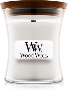 Woodwick Warm Wool świeczka zapachowa  z drewnianym knotem 85 g