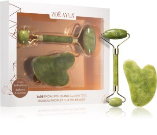 Zoë Ayla Jade Facial Roller And Gua Sha Tool Gift Set for Face