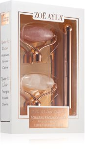 Zoë Ayla Luxurious Rose & Clear Quartz Roller Massage Roller (for Face) + Replacement Heads