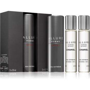 Chanel Allure Homme Sport Eau Extreme toaletní voda (1x plnitelná + 2x náplň) pro muže 3 x 20 ml