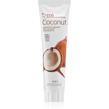 Ecodenta Cosmos Organic Coconut pastă de dinți fără fluor pentru a intari smaltul dintilor imagine 2021 notino.ro