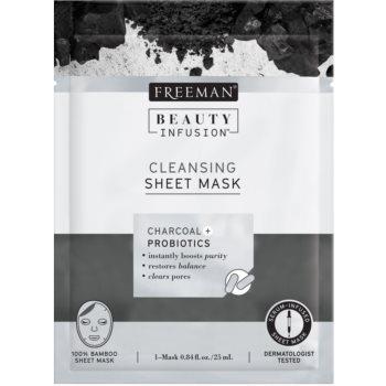 Freeman Beauty Infusion Charcoal + Probiotics mască textilă purificatoare, cu cărbune activ pentru toate tipurile de ten imagine 2021 notino.ro