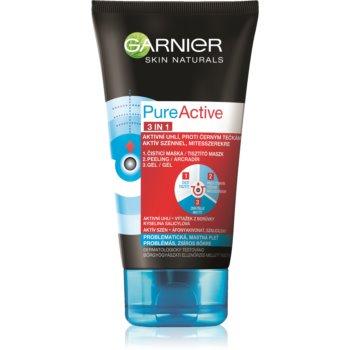 Garnier Pure Active mască facială neagră, contra punctelor negre și a acneei, cu cărbune activ 3 în 1 imagine 2021 notino.ro