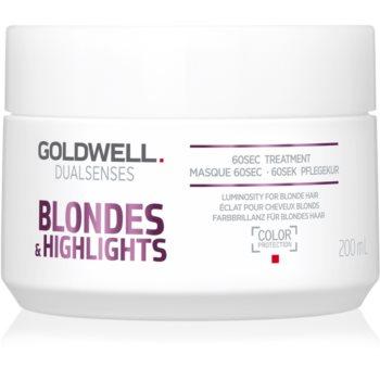 Goldwell Dualsenses Blondes & Highlights masca pentru regenerare neutralizeaza tonurile de galben imagine 2021 notino.ro