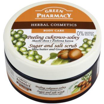 Green Pharmacy Body Care Shea Butter & Green Coffee peeling cu zahar si sare imagine 2021 notino.ro