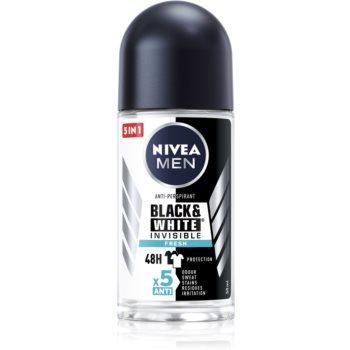 Nivea Men Invisible Black & White deodorant roll-on antiperspirant pentru barbati imagine 2021 notino.ro