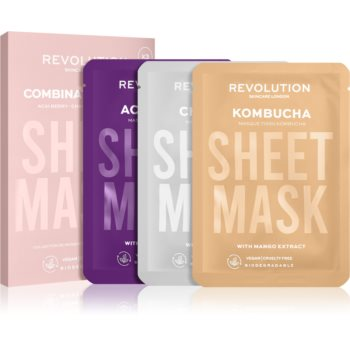 Revolution Skincare Biodegradable Combination Skin set de măști textile (pentru piele iritata si grasa cu pilozitate ridicata) imagine 2021 notino.ro