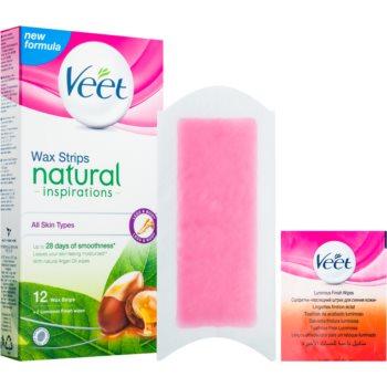 Veet Wax Strips Natural Inspirations™ benzi depilatoare cu ceara rece cu ulei de argan notino.ro