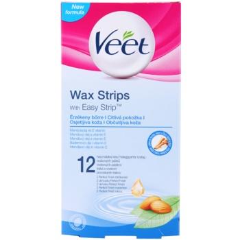 Veet Wax Strips benzi depilatoare cu ceara rece pentru piele sensibila notino.ro