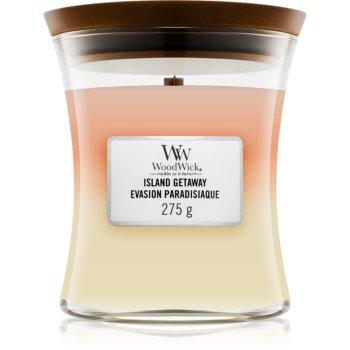 Woodwick Trilogy Island Getaway lumânare parfumată cu fitil din lemn