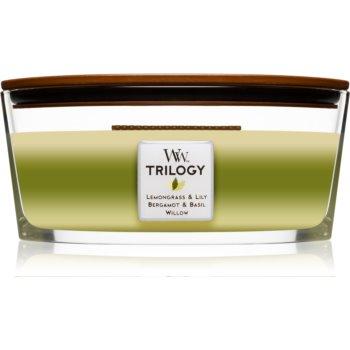 Woodwick Trilogy Garden Oasis lumânare parfumată cu fitil din lemn (hearthwick)