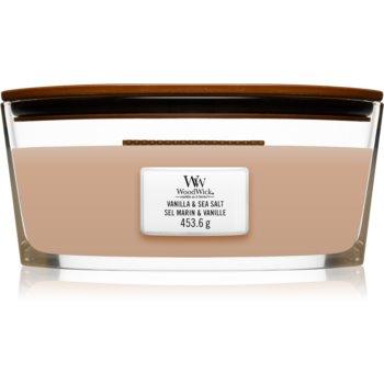 Woodwick Vanilla & Sea Salt lumânare parfumată cu fitil din lemn (hearthwick)