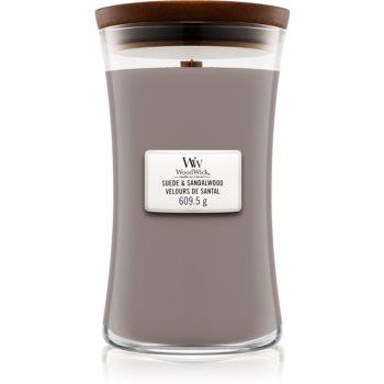 Woodwick Suede & Sandalwood lumânare parfumată