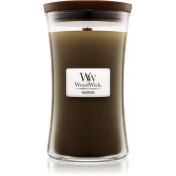Woodwick Oudwood lumânare parfumată cu fitil din lemn