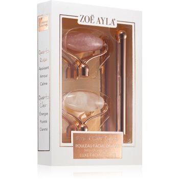 Zoë Ayla Luxurious Rose & Clear Quartz Roller rulou de masaj (facial) + capete de schimb imagine 2021 notino.ro