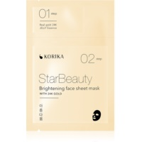 KORIKA StarBeauty maschera viso illuminante in tessuto con oro a 24 carati