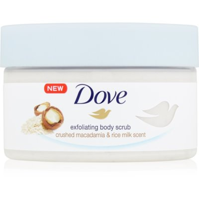 Dove Exfoliating Body Scrub Crushed Macadamia & Rice Milk питательный пилинг для тела