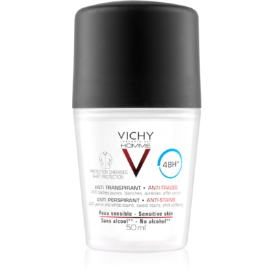 Vichy Homme Deodorant No White or Yellow Marks Roll-On Deodorant  48h