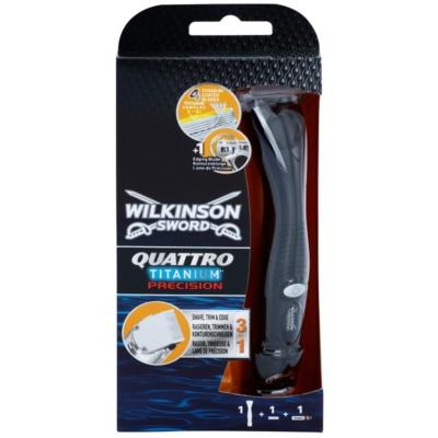 Wilkinson Sword Quattro Titanium Precision Trimmer och rakapparat för våtrakning