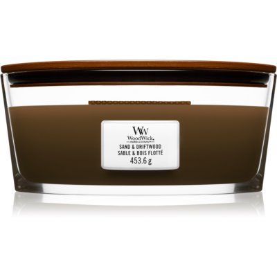 Woodwick Sand & Driftwood scented candle wooden wick (hearthwick)