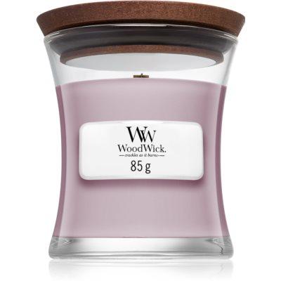 Woodwick Wild Violet dišeča sveča  z lesenim stenjem