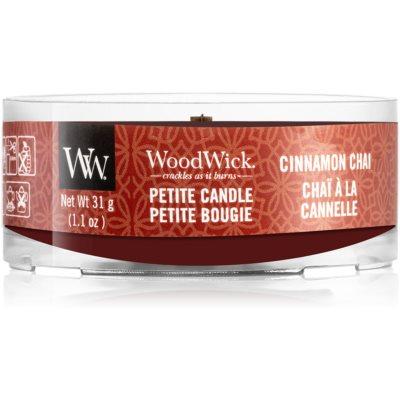 Woodwick Cinnamon Chai votivna sveča z lesenim stenjem