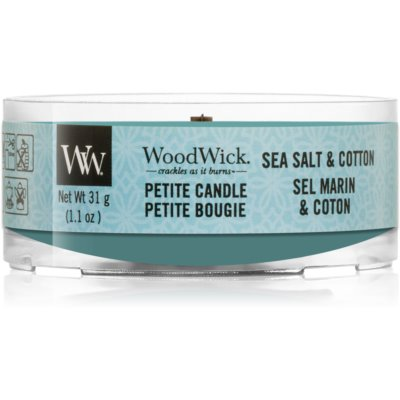 Woodwick Sea Salt & Cotton vela votiva con mecha de madera