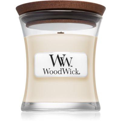 Woodwick White Tea & Jasmine dišeča sveča  z lesenim stenjem