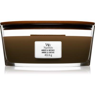Woodwick Amber & Incense bougie parfumée avec mèche en bois (hearthwick)