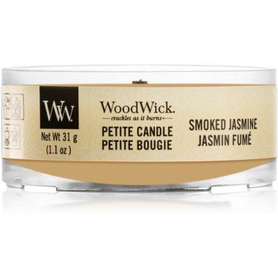 Woodwick Smoked Jasmine votivna sveča z lesenim stenjem
