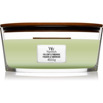 Woodwick Fig Leaf & Tuberose ароматическая свеча с деревянным фителем (hearthwick)